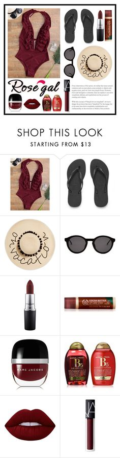 """""""Untitled #582"""" by helenatalia2001 ❤ liked on Polyvore featuring Havaianas, August Hat, Thierry Lasry, MAC Cosmetics, Marc Jacobs, Organix, Lime Crime and NARS Cosmetics"""