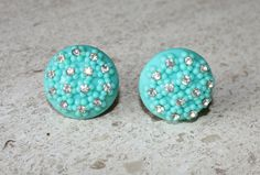 Vintage Teal Thermoset Flower and Rhinestone Earrings