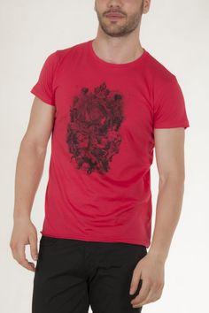 Κοντομάνικο μπλουζάκι κοραλλί με στάμπα μπροστά αντρικό sorbino