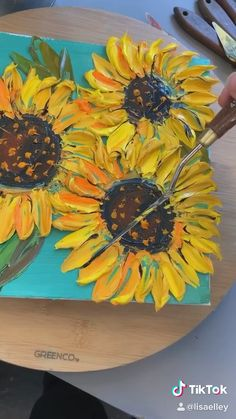 Original Fine Palette Knife Art Oil Paintings by Lisa Elley. Sunflower Drawing, Sunflower Art, Sunflower Paintings, Drawing Flowers, Art Floral, Cute Paintings, Aesthetic Painting, Inspiration Art, Art Oil