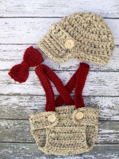 Little Man Suit in Oatmeal and Cranberry by mamamegsyarnshoppe, $40.00