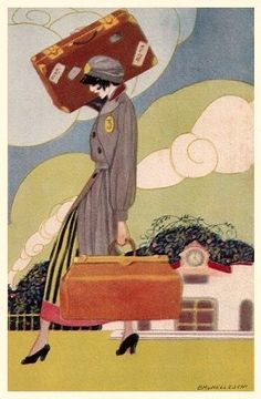 Umberto Brunelleschi (Italian 1879-1949) - Vintage Art Deco Postcard Working Bell-girl 1920's