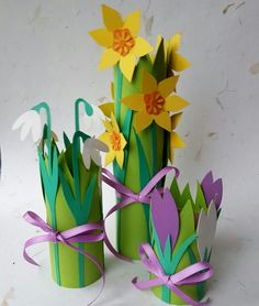 """Springtime flowers from the book """"Påskeklip"""" by Gitte Schou Hansen Projects For Kids, Art Projects, Monster Bookmark, Diy And Crafts, Crafts For Kids, Spring Has Sprung, Spring Flowers, Spring Time, Party"""