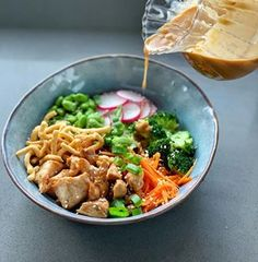 This chicken buddha bowl is a quick, easy and healthy midweek meal packed full of vegetables and served with a satay dressing. Kiwi Recipes, Healthy Recipes, Chocolate Weetbix Slice, Chargrilled Chicken, Sweet Chilli Sauce, Midweek Meals, Recipe Mix, Buddha Bowl, Healthy Cooking