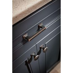 Liberty Southampton in. Bronze with Copper Highlights Square Base Round Cabinet - The Home Depot Emtek Cabinet Hardware, Kitchen Hardware, Cabinet Knobs, Copper Cabinet Pulls, Kitchen Drawer Pulls, Black Kitchen Cabinets, Kitchen Cabinet Colors, Kitchen Colors, Painting Bathroom Cabinets