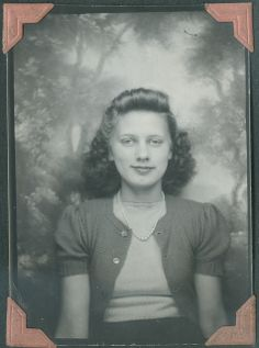 +~ Vintage Photo Booth Picture ~+  Young girl in a pretty sweater set. c.1940