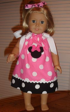 American Girl Pink Minnie Mouse Pillowcase Dress by StitchesNBows