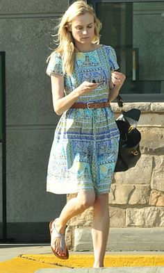 Love this dress on Diane Kruger and the accessories are perfect too! Great look for a Spring/Summer day!