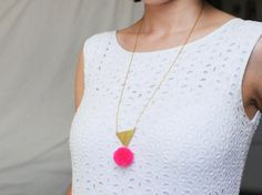 Handmade triangle and pom pom necklace in hot pink neon or electric blue / N17 on Etsy, $22.49