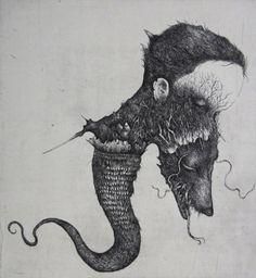 Juxtapoz Magazine - Intricate Etchings by Ikuma Nao Black And White Drawing, Black Art, Music Illustration, Sketch Inspiration, Creative Inspiration, Art Sites, Dark Fantasy Art, Japanese Artists, Typography Prints