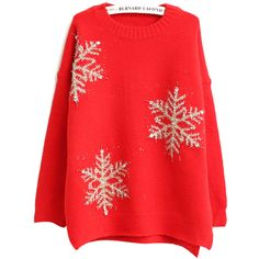 Chicnova Fashion Christmas Sweater ($18) ❤ liked on Polyvore featuring tops, sweaters, cotton sweater, christmas sweater, red snowflake sweater, red christmas sweater and relaxed fit tops