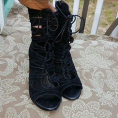 "JOIE ""Anja"" BLACK GLADIATOR LEATHER HEELS 9 This is an absolutely gorgeous pair of JOIE ""Anja"" black Gladiator lace-up leather heels. They are a size 9. I only wore them 3 or 4 times they are in great condition. SUPER HOTT! JOIE  Shoes Heels"