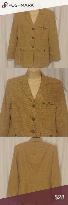 "Lauren Ralph Lauren Tan Khaki Checkered Blazer 10 Beautiful blazer. 3 pockets.   All clothes are in excellent used condition. No stains or holes.  Content: 45% Rayon 35% cotton 20% Linen  Bust: 40"" Length: 26""  Posh7 Lauren Ralph Lauren Jackets & Coats Blazers"