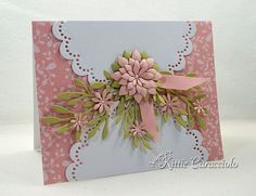 Scallops and flowers are so pretty and feminine on a card front.