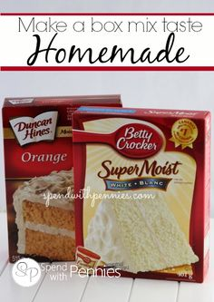 How to Make Box Cake Mix Taste Like Homemade Love it?  Pin it to SAVE it and SHARE it! Follow Spend With Pennies on Pinterest for more great tips, ideas and  recipes! Leave your own great tips in the comments below! Cake mixes can be dry and the flavor...