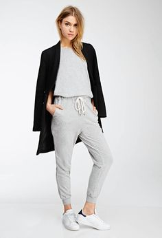 Heathered Knit Drawstring Jumpsuit | FOREVER21 - 2000134743