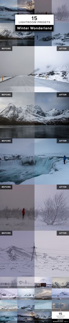 WINTER WONDERLAND – 15 carefully crafted Lightroom Presets for winter landscapes with snow, ice and the often very challenging lighting conditions.