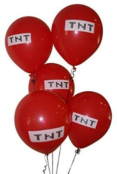 """Pixelated Red TNT Balloon 12"""" Inch Latex Party Balloons - 25 Count"""