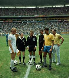 Brazil 1 England 0 in 1970 in Guadalajara. The captains, Bobby Moore and Carlos Alberto, meet before their Group 3 clash at the World Cup Finals.