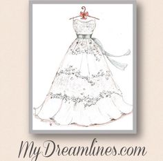 Wedding gift from groom to bride. My Dreamlines wedding dress sketch is perfect for a wedding day gift. http://www.mydreamlines.com/wedding-gifts/wedding-gift-bride-groom/