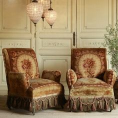 Tapestry armchairs