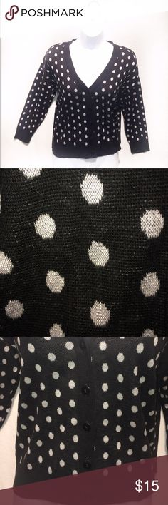 🆕 Black & White Polka Dot Cardigan Worn a Couple Times | Excellent Condition | Black Cardigan | White Polka Dots | Buttons on Front | 3/4 Sleeves | Really Soft | 100% Acrylic |🚫 Trades | Feel Free to Ask Questions 🙋🏼| More 📷 Upon Request | Bundles & Offers are Welcomed ❤️| Confess Sweaters Cardigans