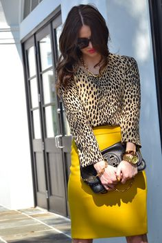 Leopard and mustard T B...Love this combo!