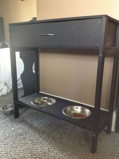 Console Table w/Drawer & Raised Dog Bowls, I could do without the drawer. Just do a table and put the DIY dog food storage on top Food Dog, Dog Food Bowls, Dog Food Recipes, Cat Food, Dog Station, Dog Feeding Station, Dog Food Storage, Table Storage, Storage Containers