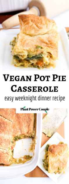 Vegan Pot Pie Casserole - an easy winter weeknight meal! - This vegan pot pie casserole is a quick, easy, and delicisously vegan version of the chicken pie I - Entree Vegan, Vegan Dinner Recipes, Whole Food Recipes, Cooking Recipes, Simple Vegetarian Recipes, Vegetarian Meals, Vegetarian Benefits, Easy Vegan Dinner, Cooking Pork