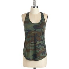 Mid-length Racerback Love at First Campsite Top by ModCloth ($43) ❤ liked on Polyvore