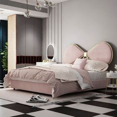 A collection of modern design of bedroom. Blush pink bedroom beautiful double b Luxury Bedroom Furniture, Luxury Bedroom Design, Bedroom Bed Design, Home Room Design, Living Room Interior, Luxury Kids Bedroom, Blush Pink Bedroom, Double Bed Designs, Big Bedrooms