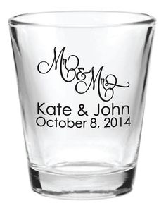 Personalized 1.5oz Wedding Favor Shot Glass