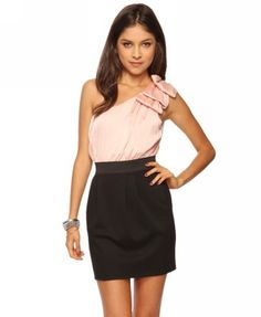 Tiered Bows One Shoulder Dress