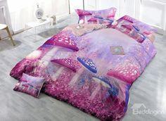 Customized Digital Print Fairy World 4-Piece Cotton Duvet Cover Sets