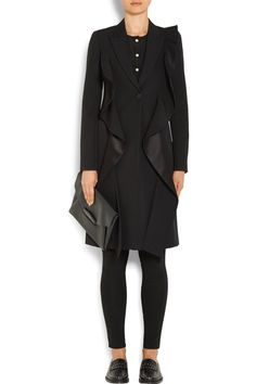 Givenchy | Ruffled satin-paneled grain de poudre wool coat | NET-A-PORTER.COM