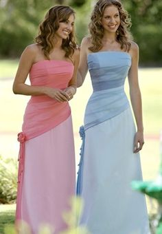 A-Line/Princess Strapless Floor-Length Chiffon Bridesmaid Dresses