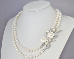 Two Strands Pearl NecklacePearl Brooch Necklace  by EnyaPearls, $27.00 @leah mullan-thompson