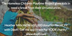 Congrats The Playtime Project! Doofl user Heather Mills gave first $1,000 Doofl donation raffle to you!  Check coming!