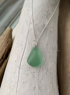 "18"" Sterling Silver Necklace with Vintage Green Sea Glass Pendant by BarefootandBraids on Etsy"