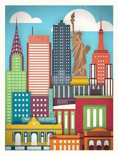 Vintage travel posters, city scapes, new york poster, city drawing, voyage new New York Illustration, New York Poster, Poster City, City Drawing, Voyage New York, I Love Nyc, Urban Architecture, New York Art, Vintage Travel Posters