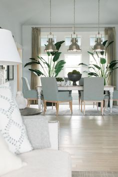 The well-planned layout of the home allows guests to easily move from the living room to the dining area when dinner is ready to be served.