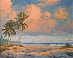 Untitled Florida beach landscape by Albert Ernest Backus (1909-1990). An American artist famous for his vivid Florida landscapes, he earned his living first as a commercial artist. Later he painted vivid Florida landscapes, tropical flowers, beach and river scenes, and the spectacular vistas of the Everglades