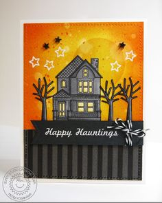Sunny Studio: Halloween Card using everyday Stamps by Mendi Yoshikawa (using Happy Home & School Time sets)