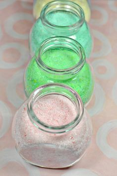 DIY bath salts... let's think of natural dyes (say, from clays and foods) to replace artificial food coloring