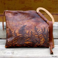 Fern Leather Bag with Vintage Wooden Handle by Stacy by stacyleigh