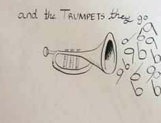 """Calligraphy pen Jason Derulo Trumpets """"and the trumpets they go"""""""