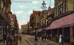 Linthorpe Road in Middlesbrough photographed for a postcard and then very heavily tinted. The scene dates from the 1890s