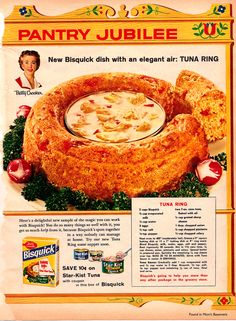 Try the Bisquick dish with an elegant air: Tuna ring! It's a baked biscuit-like ring that's served with a cheesy tuna sauce in the center. Retro Recipes, Old Recipes, Vintage Recipes, Cooking Recipes, Family Recipes, 1950s Recipes, Grandma's Recipes, Cookbook Recipes, Cooking Ideas