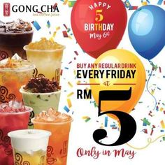 Gong Cha is celebrating their Birthday on May You can buy any regular drink EVERY FRIDAY at Promotion is only in May So don't miss out! Bubble Milk Tea, Happy 5th Birthday, Promotion, Bubbles, Ice, Food, Design, Essen, Eten