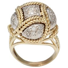 1STDIBS.COM Jewelry & Watches - Italian Gold and Pave Diamond Dome Ring - Buck House